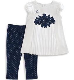 baby girls white tunic 2pc legging set