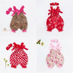 Baby Headband Girl Jumpsuit Newborn Romper Outfit Infant Flo