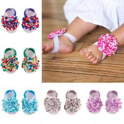 Baby Infant Barefoot Toddler Foot Flower Band Newborn Girls