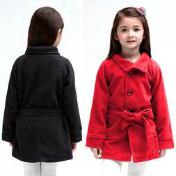 Baby Kids Girls Fleece Jacket Sweater Trench Belt Coat Princ
