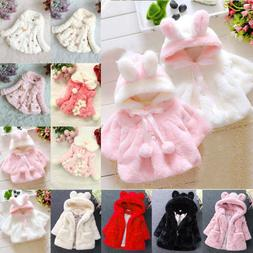 Baby Kids Girls Fur Fleece Easter Bunny Rabbit Ear Coat Warm