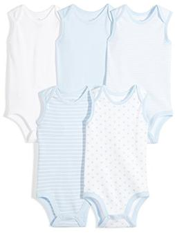 Moon and Back Baby Set of 5 Organic Sleeveless Bodysuits, Bl