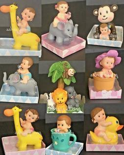 Baby Shower Boy Girl Cake Topper Decoration Animals Figurine