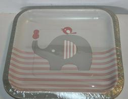 """Baby Shower Girl 'Little Peanut' Elephant, 7"""" Square Party L"""