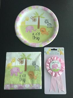 Baby Shower Plates, Napkins, & Ribbon - It's a Girl! Jungle