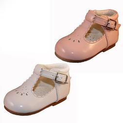 BABY TODDLER GIRL WALKING SHOES SPANISH STYLE PATENT WHITE P