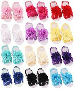 Toptim Baby Girls Barefoot Sandals Solid Flower for Toddlers
