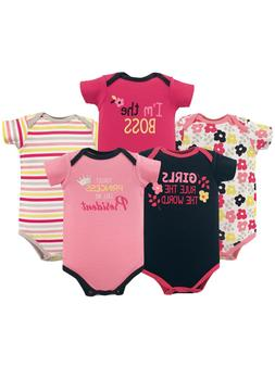 Luvable Friends Basics Baby Girl Print 5 Pack Bodysuit Set S