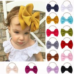 Big Bow Headband Nylon Hairband Girls Baby Knotted Turban He