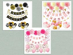 Birthday Decorations Baby Shower Party Supplies Set for Kids