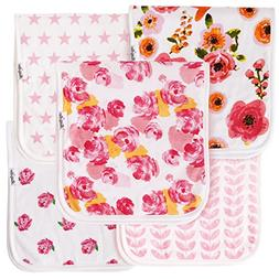 "Baby Burp Cloths For Girls 5 Pack, Large 21""X10"", Triple Lay"