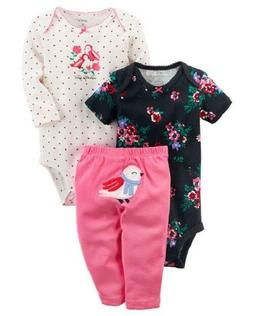 Carter's 3 Piece Baby Girls outfit BIRD CHECK FOR SIZE