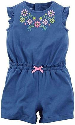 Carter's Baby Girl 1pc Romper Blue W Multi Color Embroidery