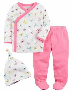 Carter's Baby Girl 3 piece Butterfly Kimono Top, Footed Pant