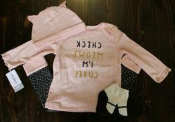 Carter's Baby Girl 4 piece Top, Pants, Hat and Socks Set 12
