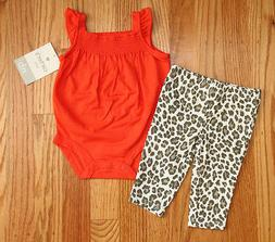 Carter's Baby Girl Bodysuit & Pants Set~Orange, White & Brow