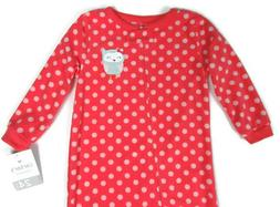 Carter's Baby Girl Coral Owl Size 24 Months Footed Pajamas F
