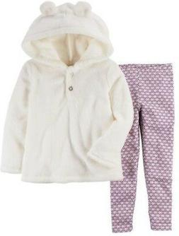 Carter's Baby Girl Fuzzy White Hoodie w/ Ears & Metallic Leg