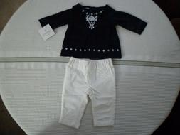 Carter's Baby Girl Layette 2 Piece Set Blue Top White Bottom