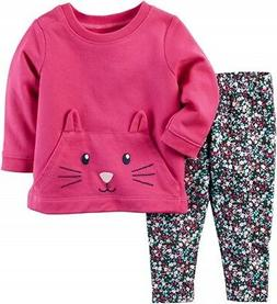 Carter's Baby Girl Pink 3D Kitten Terry Top & Floral Legging