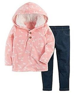 Carter's Baby Girl Pink Fleece Horse Hoodie & Navy Jeggings