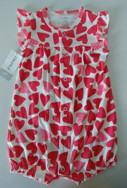 Carter's Baby Girl Red and Pink Hearts ❤ Jumpsuit Size 9 m
