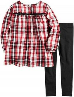 Carter's Baby Girl Red Plaid Metallic Top & Black Legging 2p