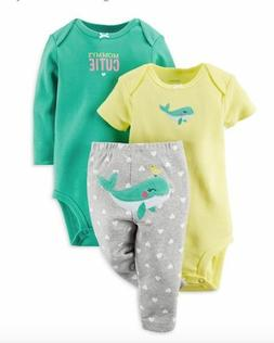 Carter's Baby Girl's 2 PC Take Me Away Set Yellow Green Gray
