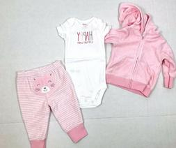 Carter's Baby Girl's 3-Piece Terry Little Jacket Set Pink Si