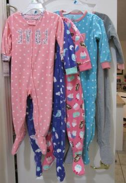 Carter's Baby Girl Zip Front Footed Poly Fleece Pajamas size