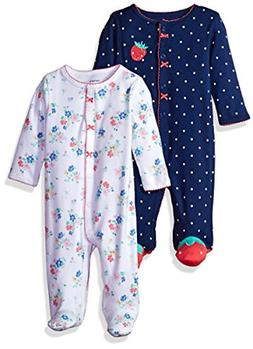 Carter's Baby Girls' 2-Pack Cotton Sleep and Play, Strawberr