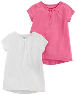 Carter's Baby Girls' 2-Pack Tee, White/Pink, 18 Months