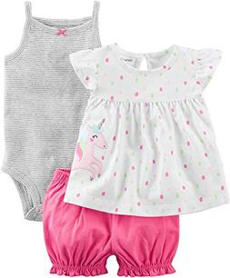 Carter's Baby Girls' 3 Piece Unicorn Bodysuit and Diaper Cov