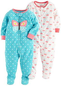 Carter's Baby Girls' Toddler 2-Pack Fleece Pajamas, Ivory He