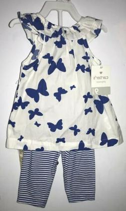 Carters Baby Girl 2 Piece Outfit Size 9 months Butterflies B