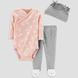 Carters Baby Girl 9 Months 3-Piece Pink Bodysuit Hat Footed