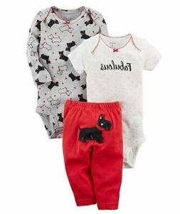 Carters Baby Girl's 3-Piece Set - Size: 3m, 9m, 12m        T
