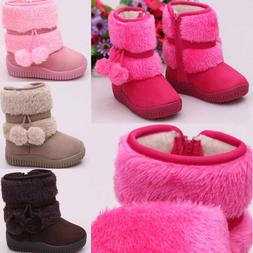 Child Kid Baby Girl Warm Fur Snow Boots Anti-slip Shoes Boot
