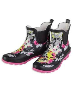 Victorian Trading Co. Black & Pink Floral Wellies Ankle Rain