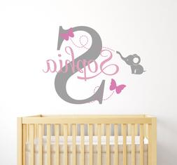 Custom Elephant Butterflies Name Wall Decal Baby Girl Wall D