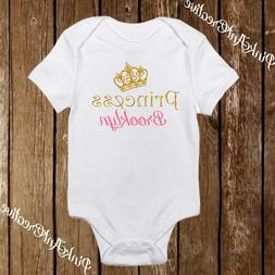 Custom Name Sparkle Princess Crown Cute Baby Girl Clothes On