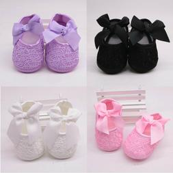 Cute 0-18M Infant Baby Girl Princess Solid Bow Soft Non-slip