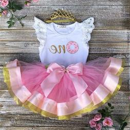 Cute Baby Girl 1st Birthday Party Dress Floral Romper Tutu S
