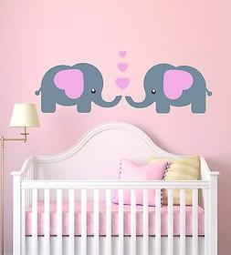 Cute Elephants Baby Girl Vinyl Wall Decal - Baby Nursery Ele
