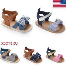 Cute Infant Baby Girl Soft Sole Sandals Toddler Summer  Bow-