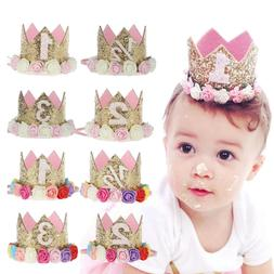 DV_ Princess Baby Girl 1st Birthday Flower Crown Party 1&2 Y