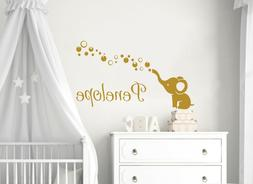 Elephant Name Wall Decal Personalized Girl Name Sticker Baby