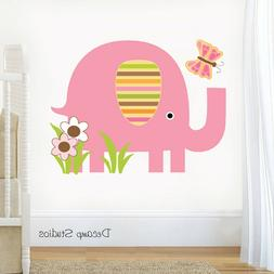 Elephant Nursery Decal Safari Animal Wall Art Baby Girl Jung
