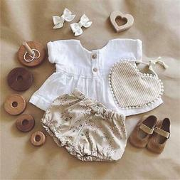 Emmababy Newly Summer Infant Baby Girl Newborn Cotton Linen