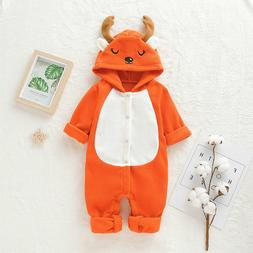 Fall Winter Toddler Baby Boys Girls Warm Moose Hooded One-pi